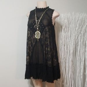 FREE PEOPLE GAUZY & EMBROIDERED LACE DRESS!